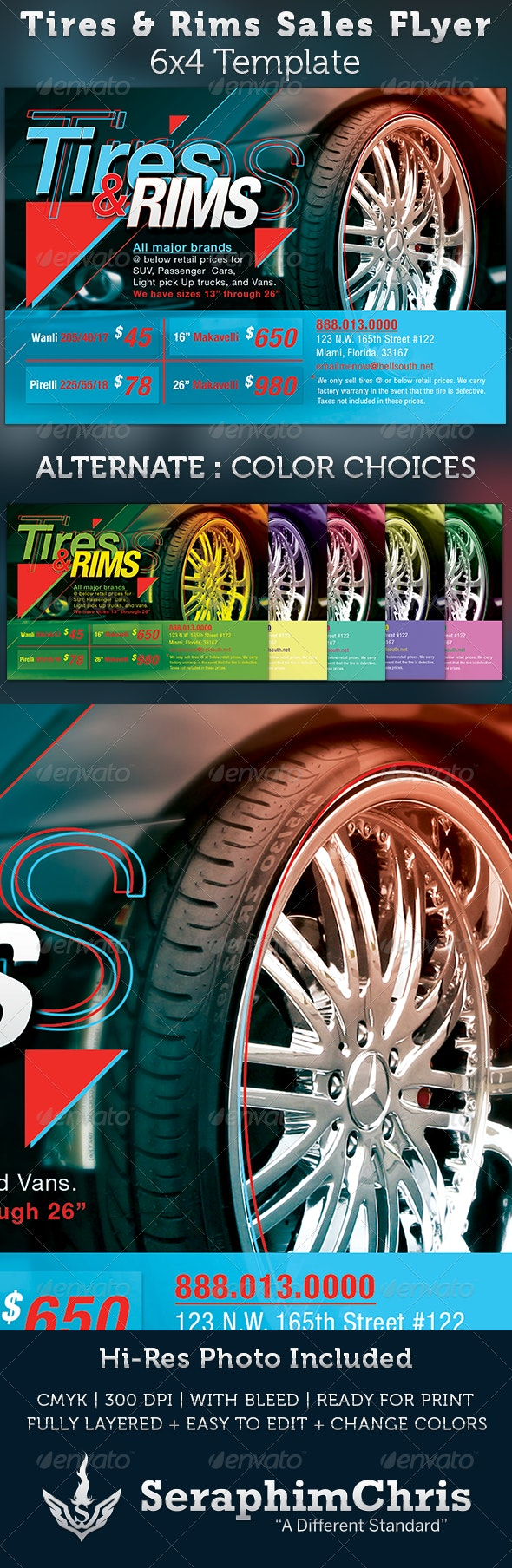 Tires and Rims Sales Ad Flyer Template - Commerce Flyers