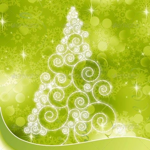 Christmas Halftone Tree on Green