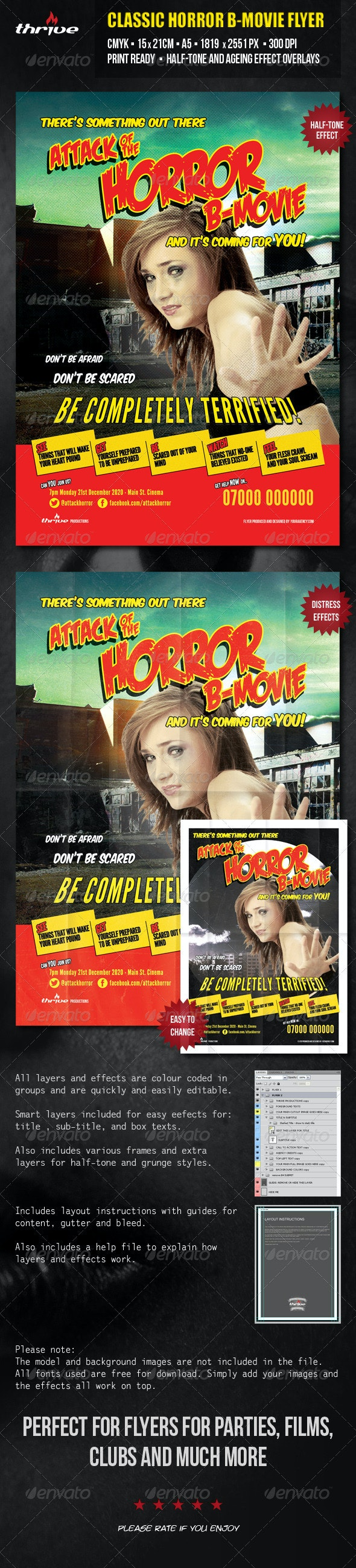 Horror B Movie Flyer - A5 - Miscellaneous Events