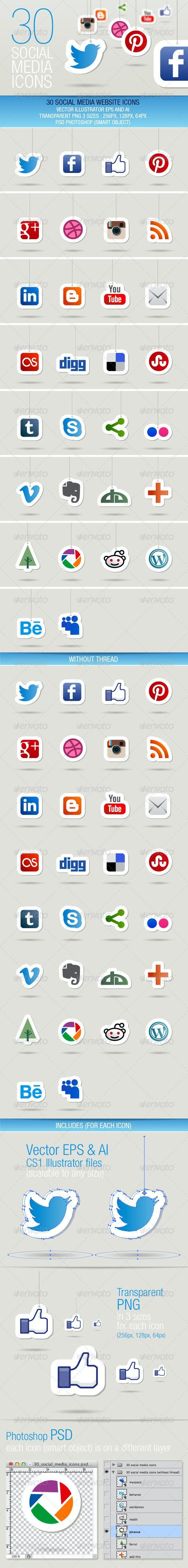 30 Social Media Icons - Media Icons