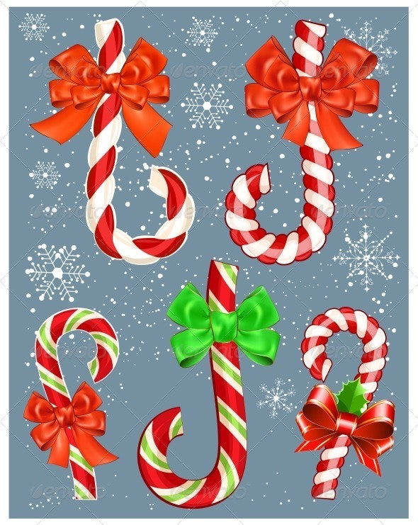 Candy Canes With Bows - Christmas Seasons/Holidays