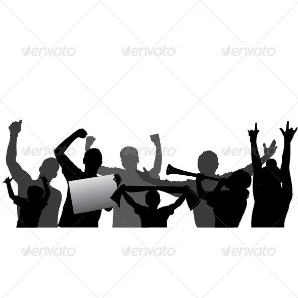 Sports Fans, Cheering Crowd Vector Silhouettes.