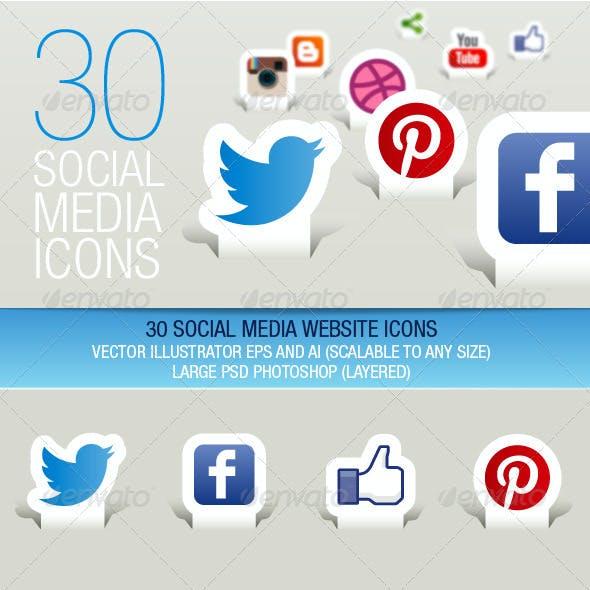 30 Social Media Icons (Paper Cut)