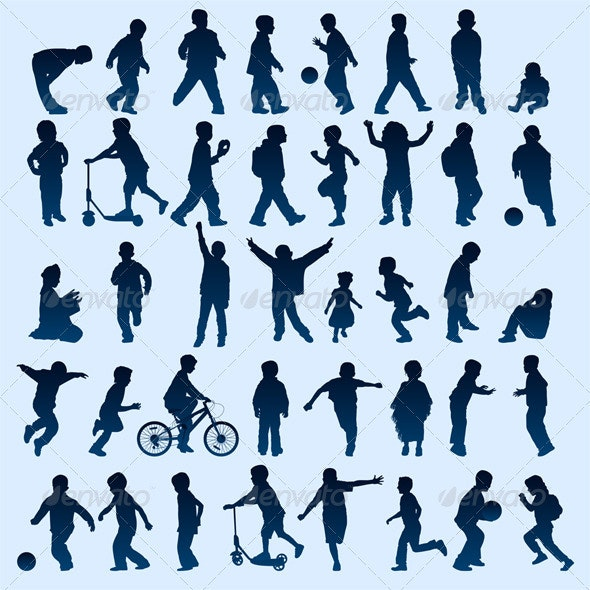 Kid Silhouettes - People Characters