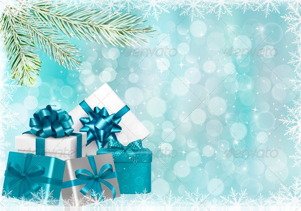 Christmas Blue Background with Gift Boxes - Christmas Seasons/Holidays