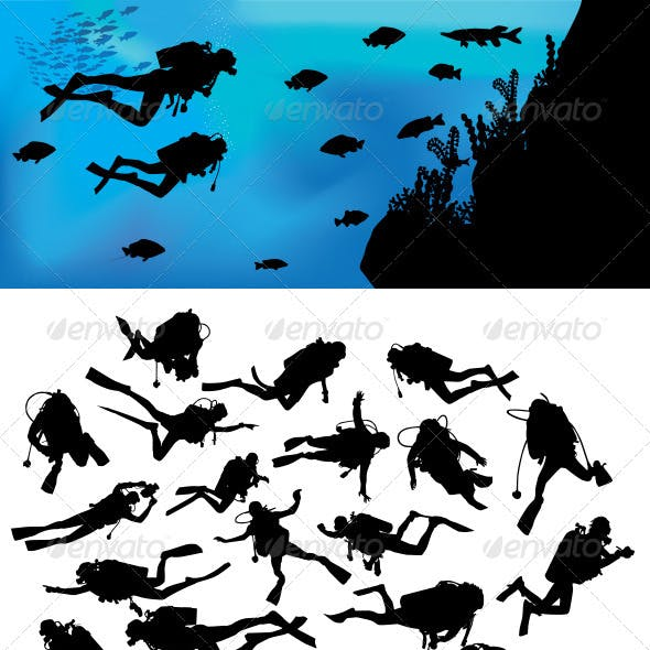 Scuba Diving Silhouettes
