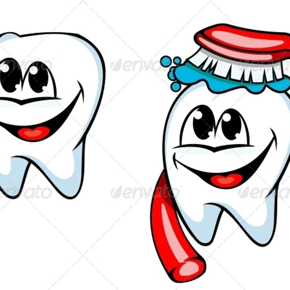 Clean Tooth with Toothbrush and Toothpaste