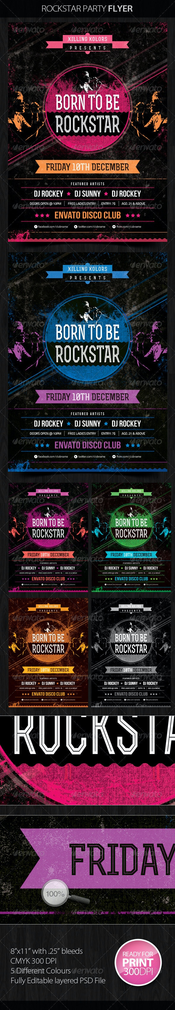 Rockstar Retro Party Flyer - Clubs & Parties Events