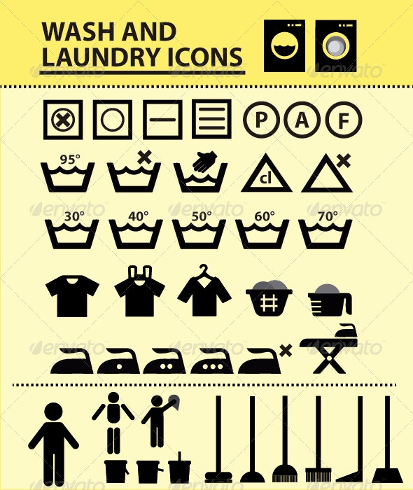 LAUNDRY and WASH  ICON - Objects Icons