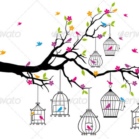 Vector  Tree With Birds and Birdcages