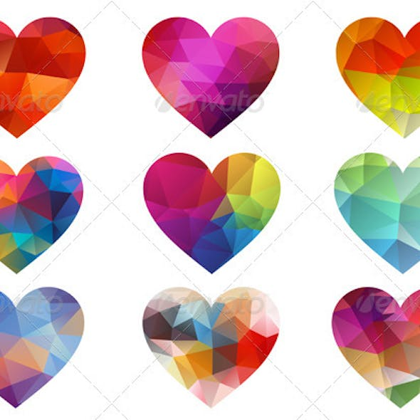 Colorful Hearts With Triangle Pattern, Vector