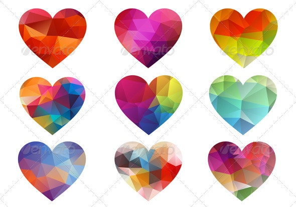 Colorful Hearts With Triangle Pattern, Vector - Decorative Symbols Decorative