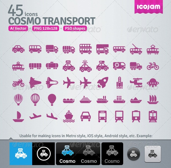 45 AI and PSD Transport Icons
