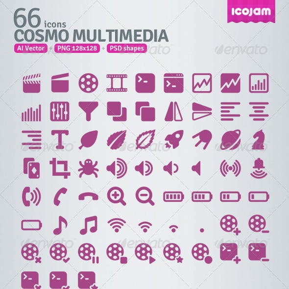 66 AI and PSD Multimedia Icons