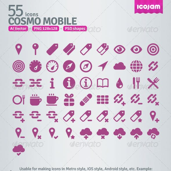 55 AI and PSD Mobile Icons