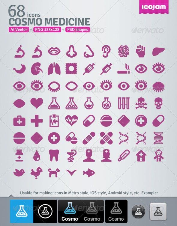 68 AI and PSD Medicine Icons