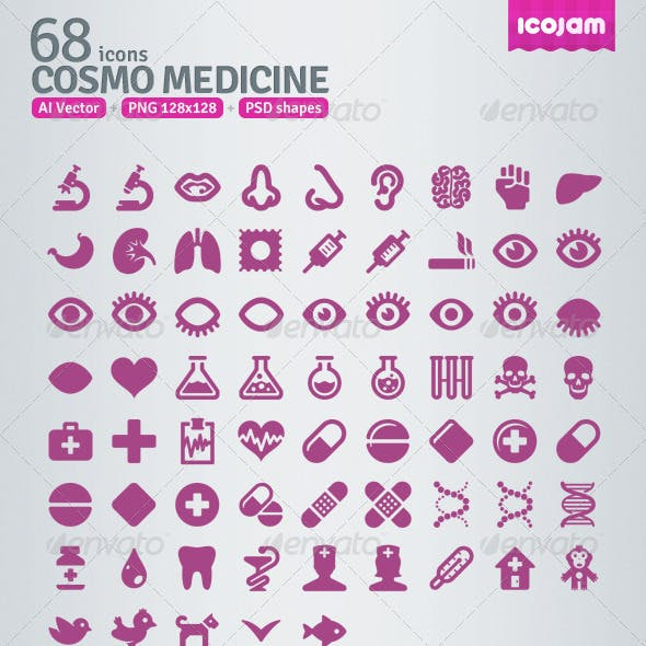 68 AI and PSD Medicine Icons