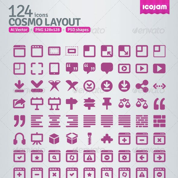 124 AI and PSD Layout Icons