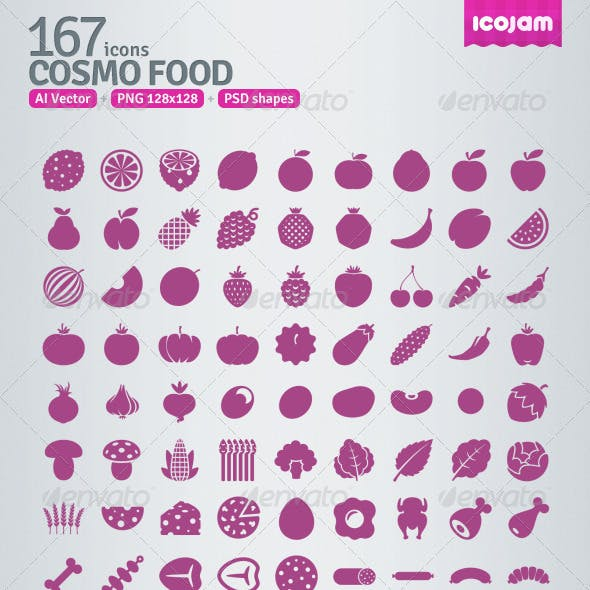 167 AI and PSD Food Icons