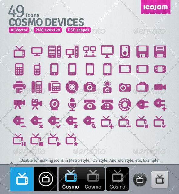 49 AI and PSD Devices Icons