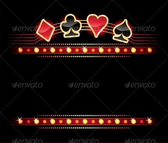 Neon with Card symbols - Borders Decorative