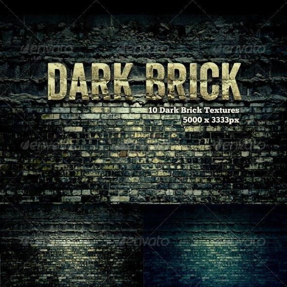 10 Dark Brick Grunge Textures Pack