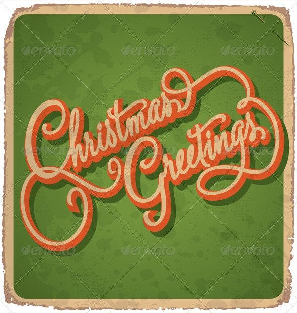 Hand-Lettered Vintage Christmas Card (Vector) - Christmas Seasons/Holidays
