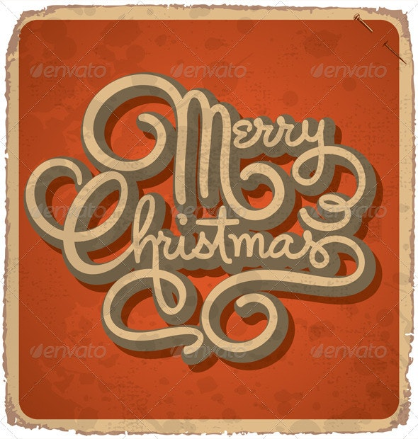 Hand-Lettered Vintage Christmas Card (Vector) - Christmas Seasons/Holidays