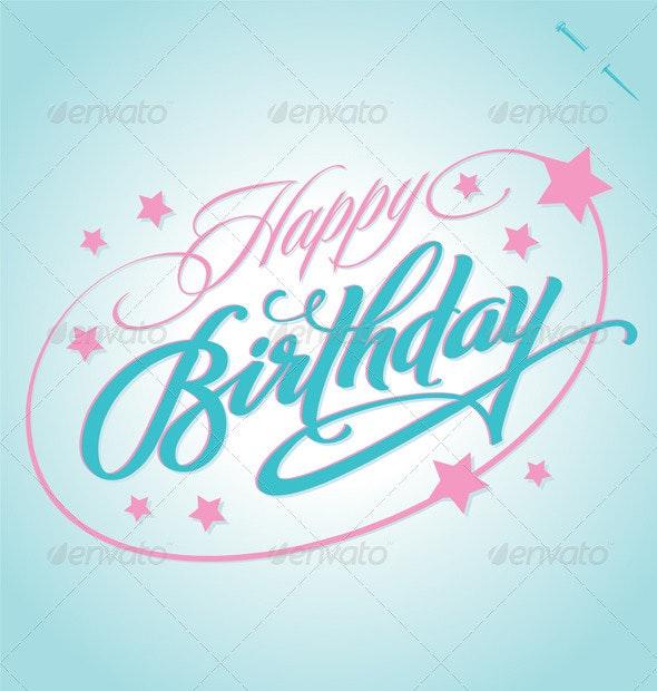 'Happy Birthday' Hand Lettering (Vector) - Birthdays Seasons/Holidays