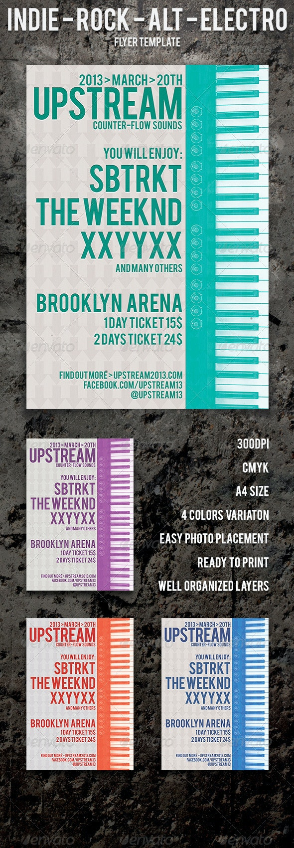 UPSTREAM - Flyer for indie-rock-alt-electro - Concerts Events