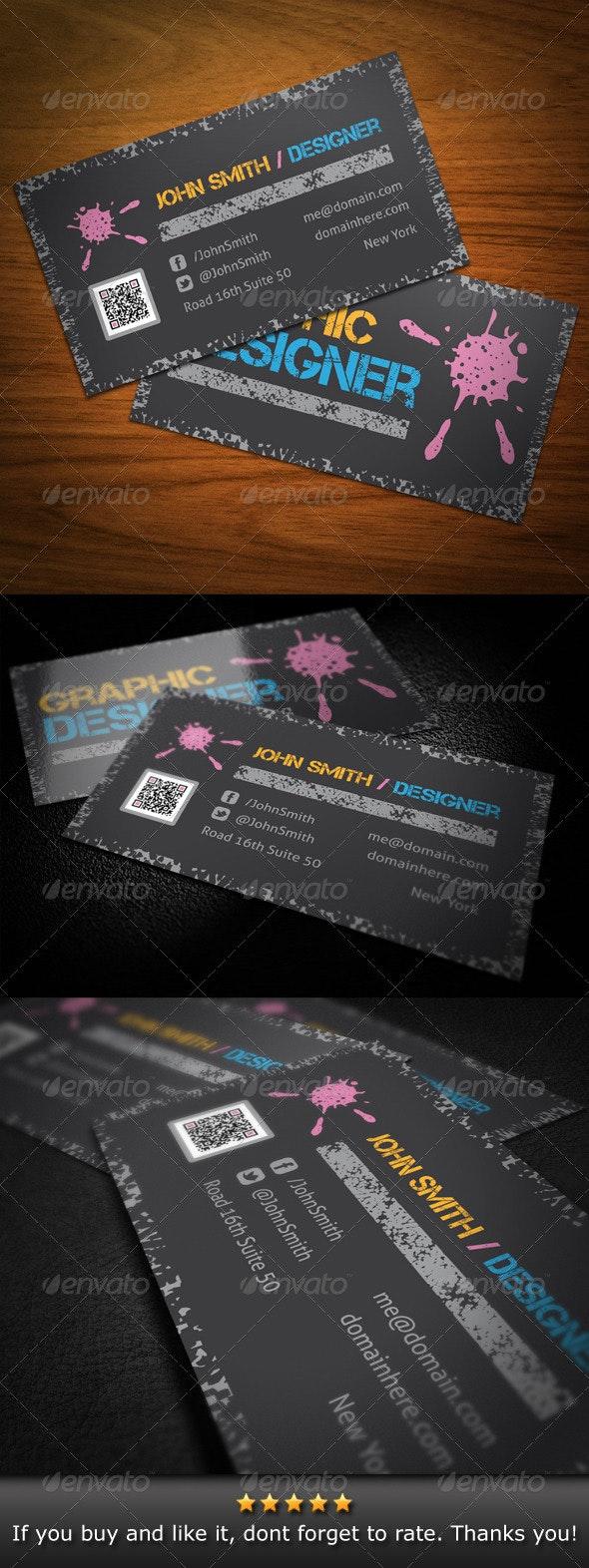Grunge Graphic Designer Business Card - Grunge Business Cards