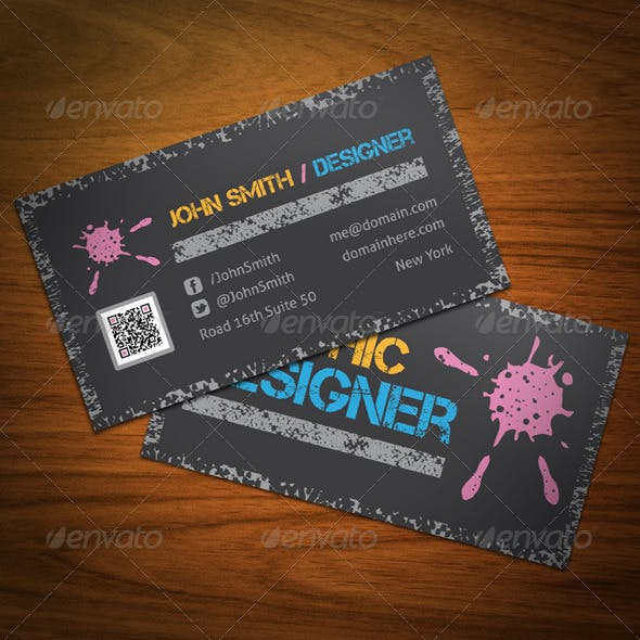 Grunge Graphic Designer Business Card