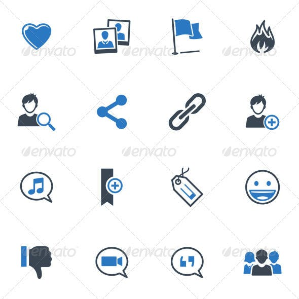 Social Media Icons Set 2 - Blue Series