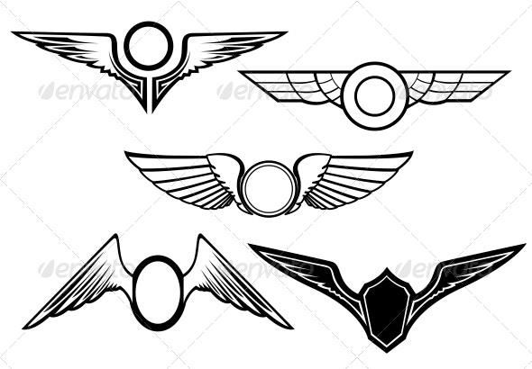Set of Wing Symbols - Decorative Symbols Decorative