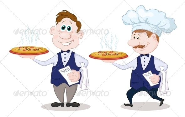 Waiters Deliver A Hot Pizza - People Characters