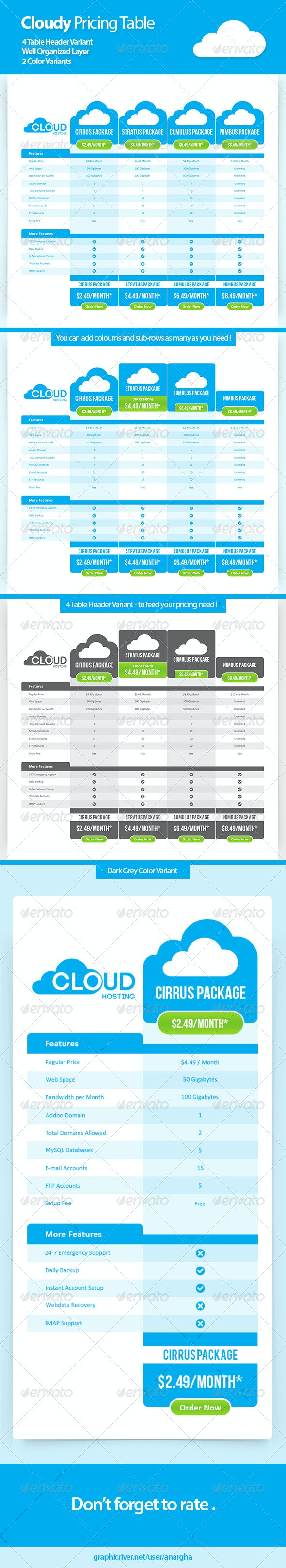 Cloudy Price Table - Tables Web Elements