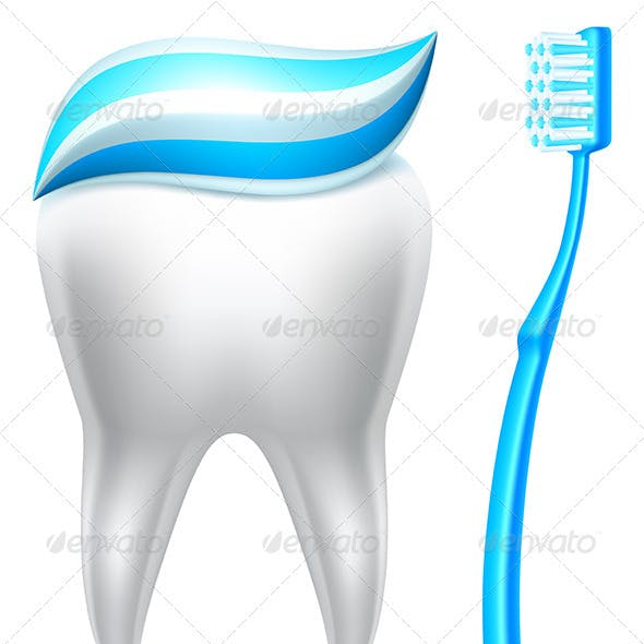 Tooth with Toothpaste and Toothbrush