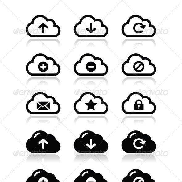 Cloud Vector Icons Set for Web