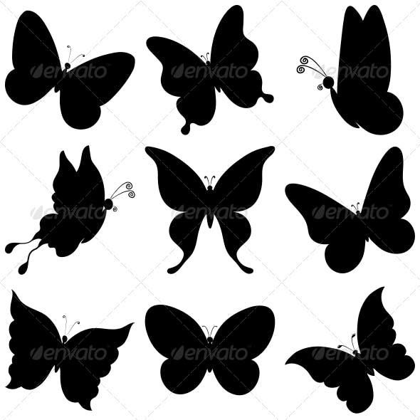 Butterflies - Black Silhouettes