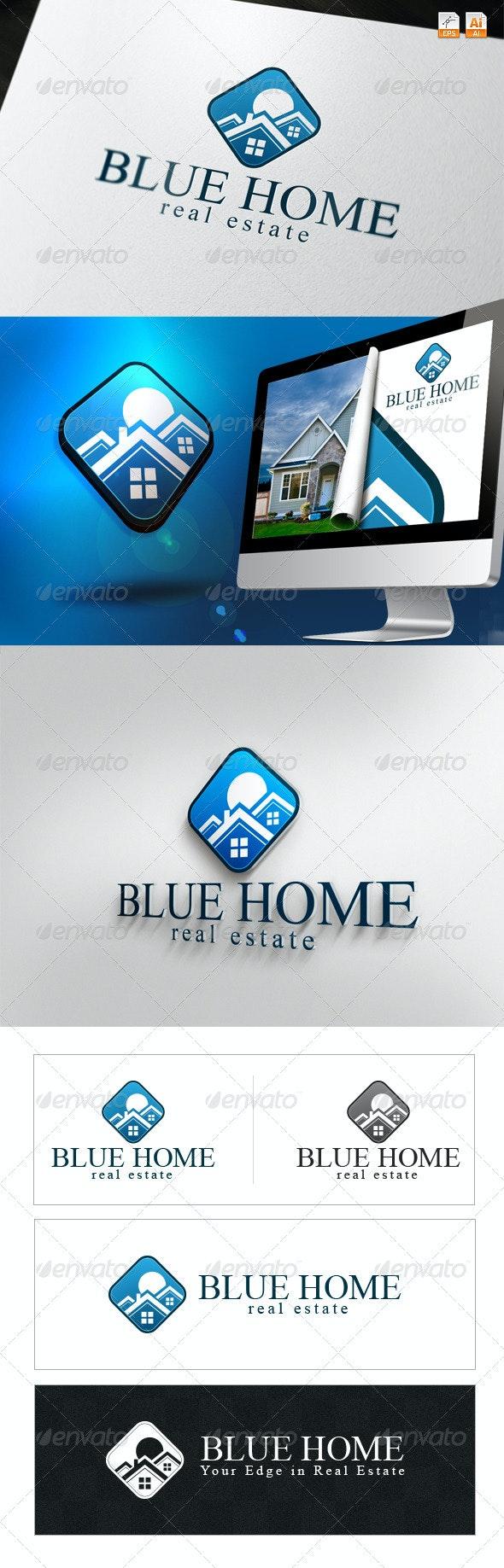 Blue Home - Real Estate Logo - Buildings Logo Templates