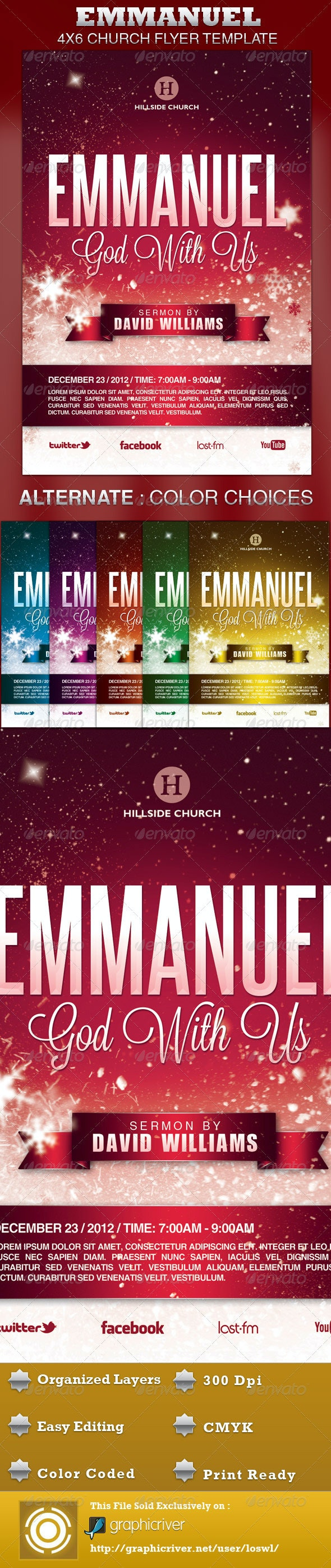 Emmanuel Church Flyer Template - Church Flyers