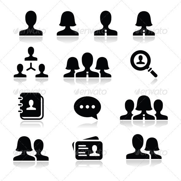 People User Vector Icons Set
