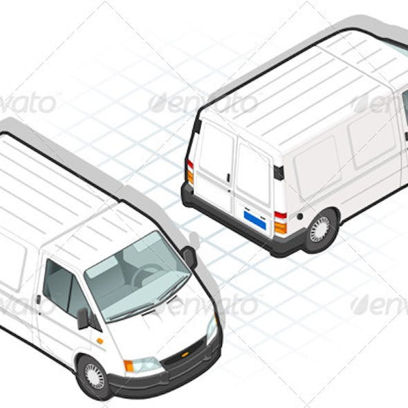 Isometric White Van in Two Position