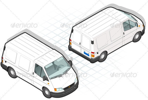 Isometric White Van in Two Position - Man-made Objects Objects