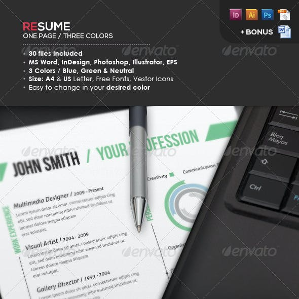 Ready One Page Resume | CV