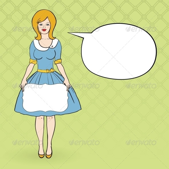 Vector Illustration of a Woman Dressd Like 50's - People Characters
