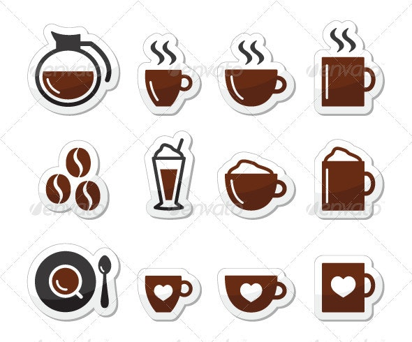 Coffee Icons on Labels Set - Food Objects