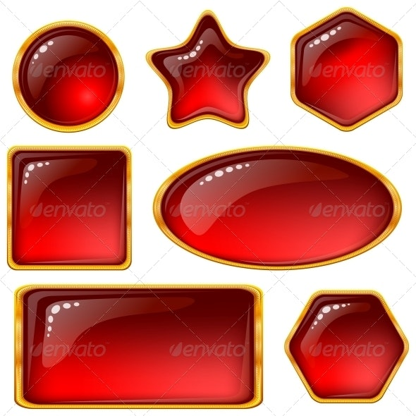 Buttons with Red Gems Set - Web Elements Vectors