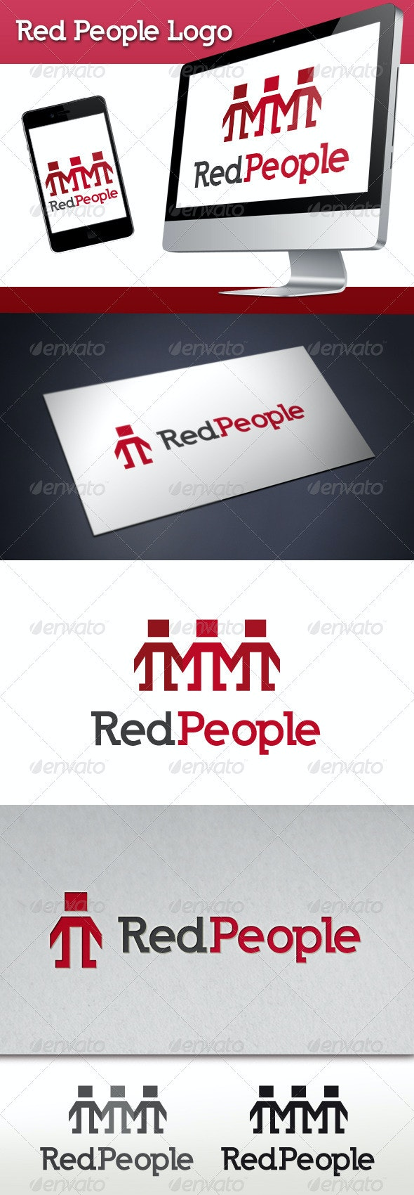 Red People Logo Template - Humans Logo Templates