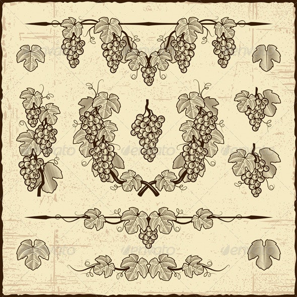 Retro Grapes Collection - Decorative Symbols Decorative